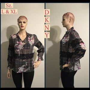 NWT DKNY Garden Plaid Lace Tie Top